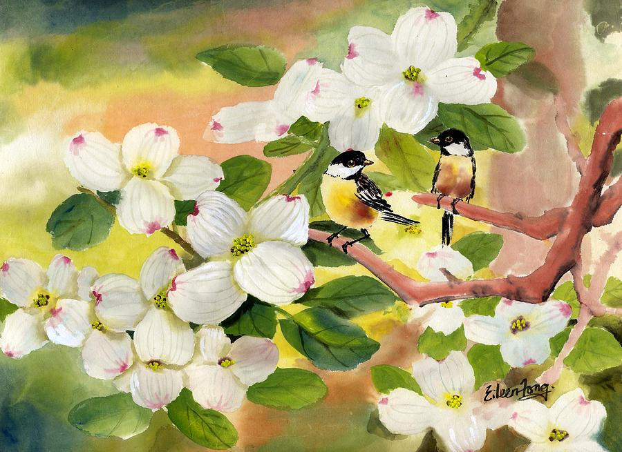 Chickadees Painting - Chickadees In The Dogwood Tree by Eileen  Fong