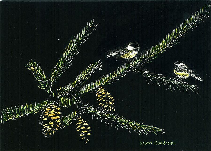 Chickadees Painting - Chickadees by Robert Goudreau