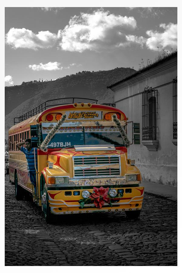 Antigua Guatemala Photograph - Chicken Bus - Antigua Guatemala by Totto Ponce