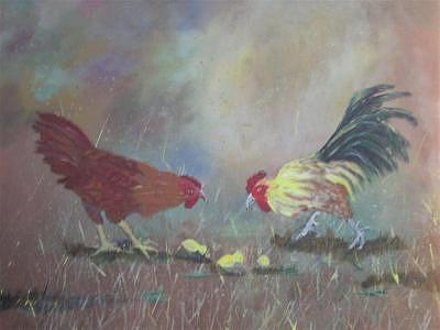 Chicken Family Painting by Dora Gourley