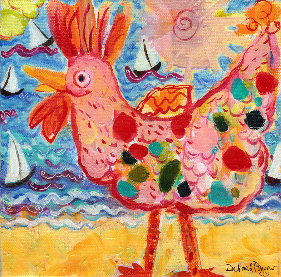Chickens Painting - Chicken Of The Sea #2 by Deborah Burow