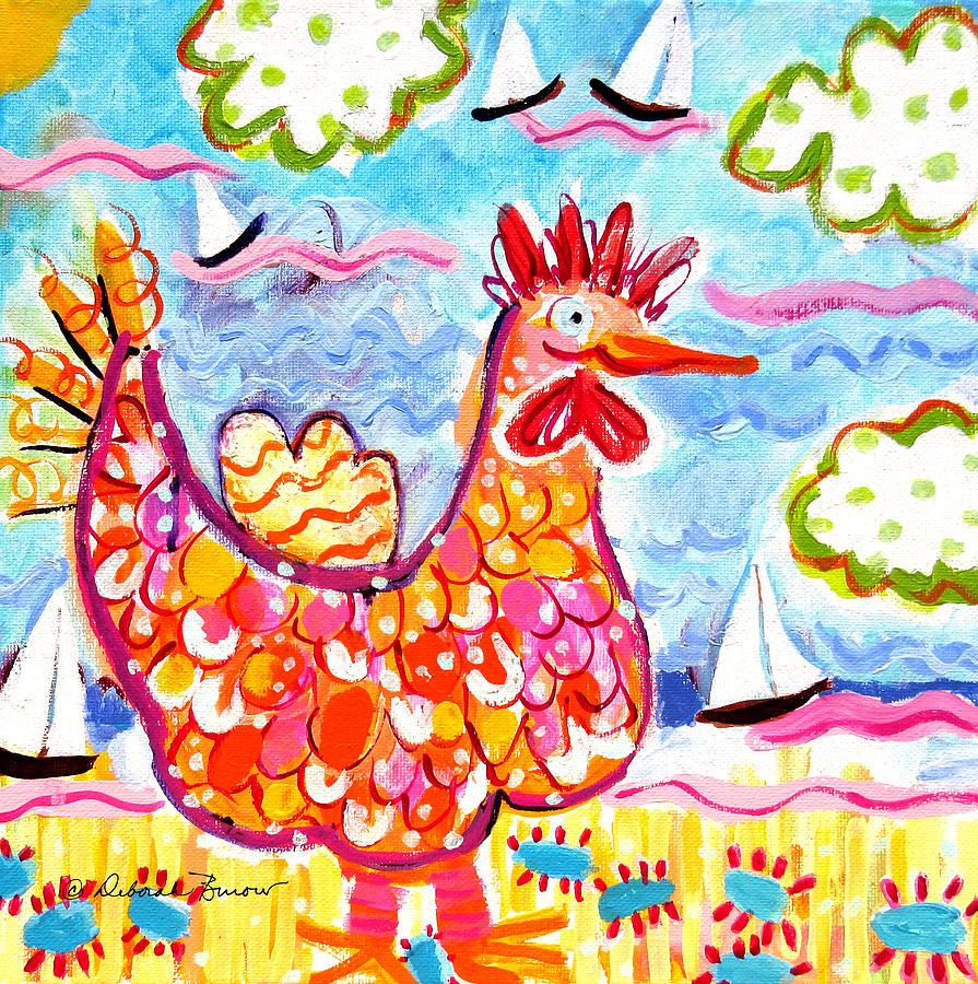 Orange Painting - Chicken Of The Sea by Deborah Burow