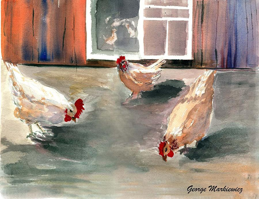 Chickens Print - Chickens In The Barnyard by George Markiewicz