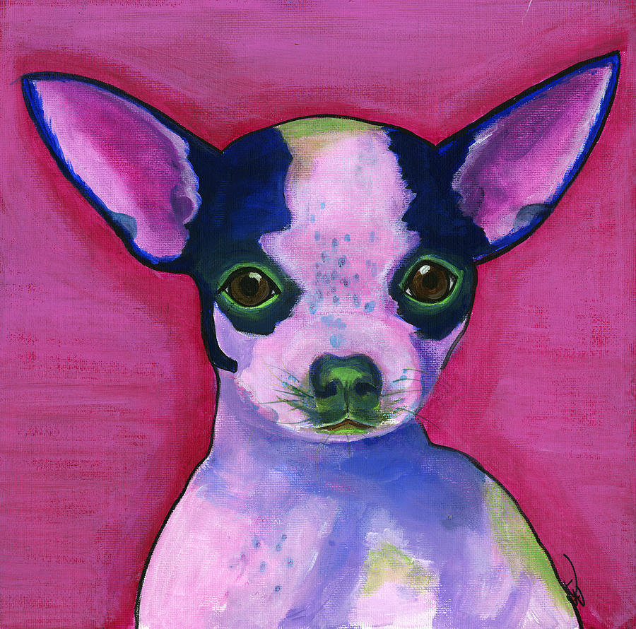 Cute Puppy Painting - Chico by Debbie Brown