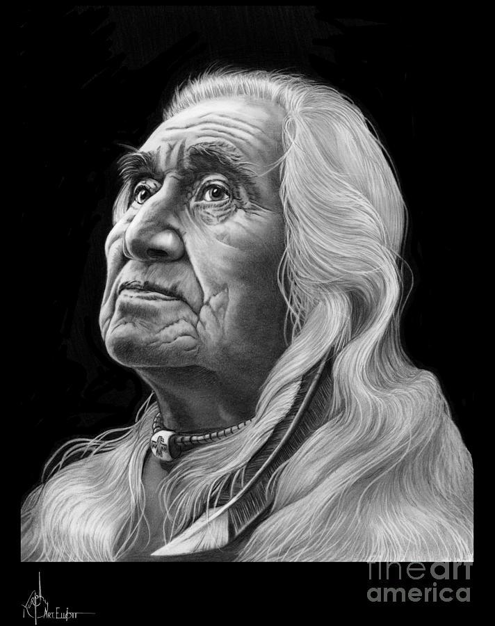 Pencil Drawing - Chief Dan George by Murphy Elliott