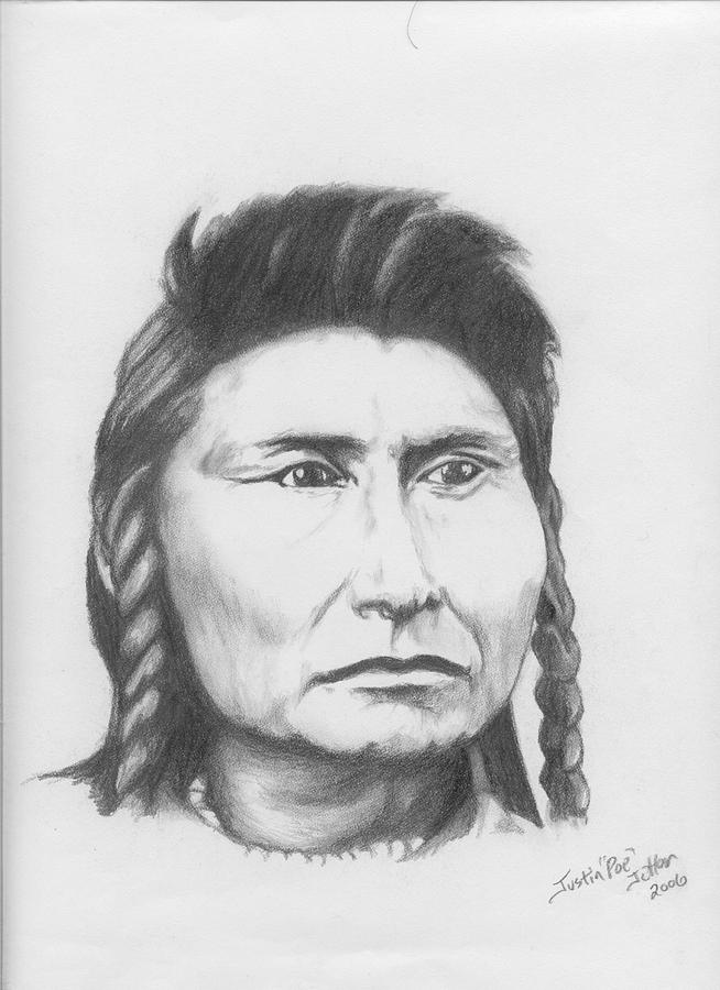 Portrait Drawing - Chief Joseph by Justin Jetton