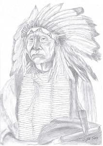 Indian Portrait Drawing - Chief Red Cloud by Crystal Sons