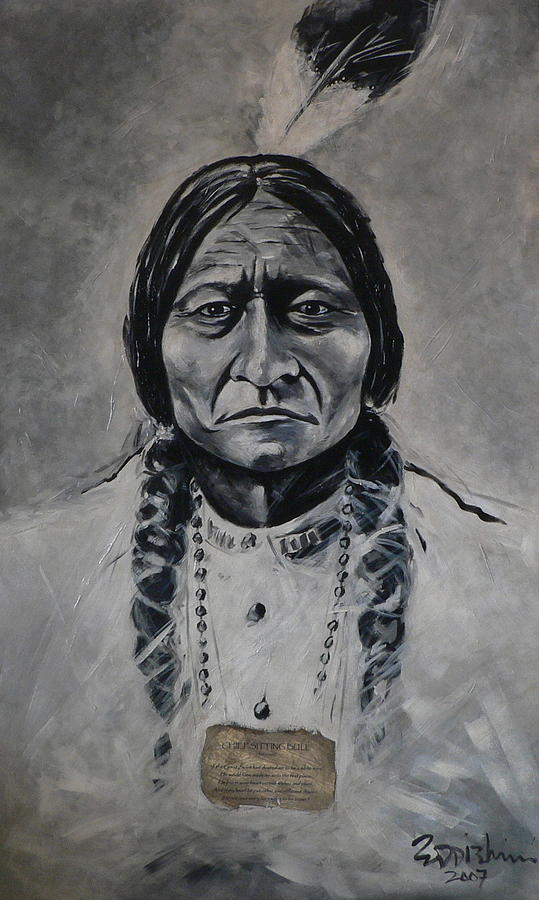chief sitting bull painting by eddie lim. Black Bedroom Furniture Sets. Home Design Ideas