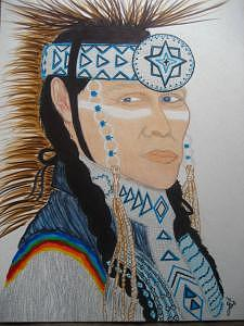 Indian Mixed Media - Chief by Virginia Patrick