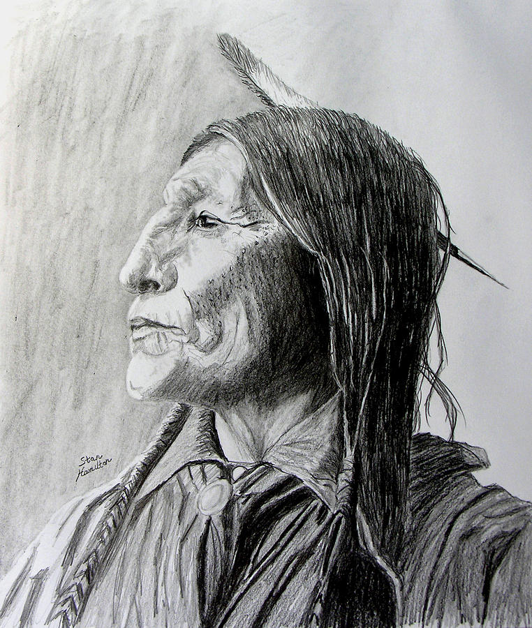 Framed Drawing - Chief Wolf Robe by Stan Hamilton