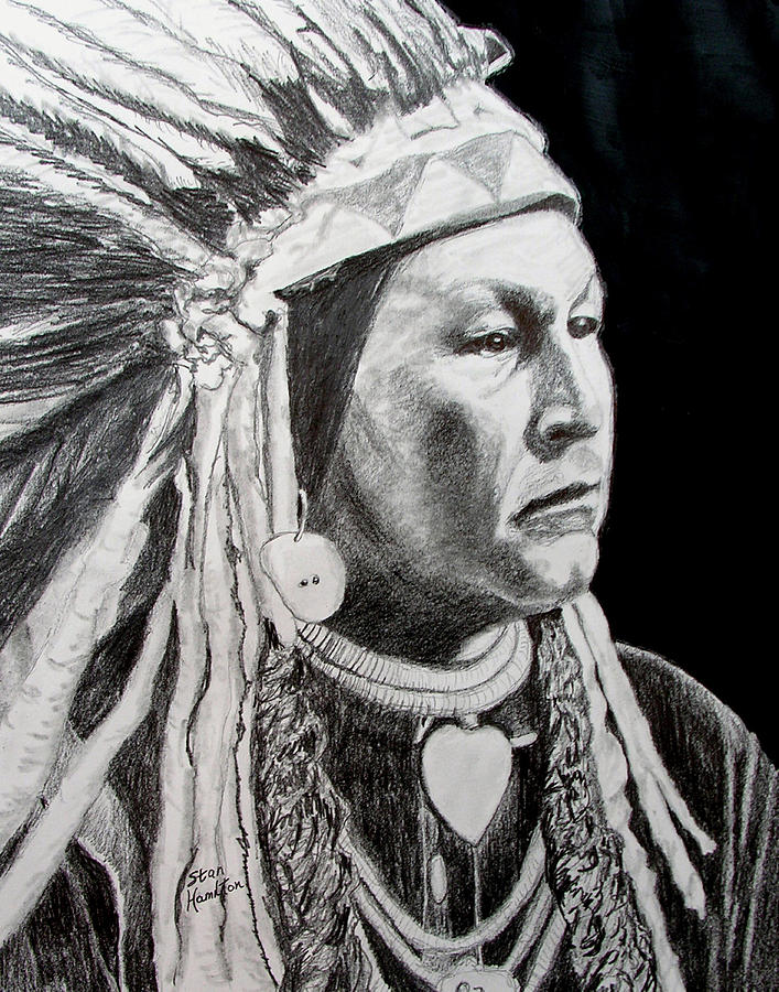 Indian Portrait Drawing - Chief Yellow Wolf by Stan Hamilton