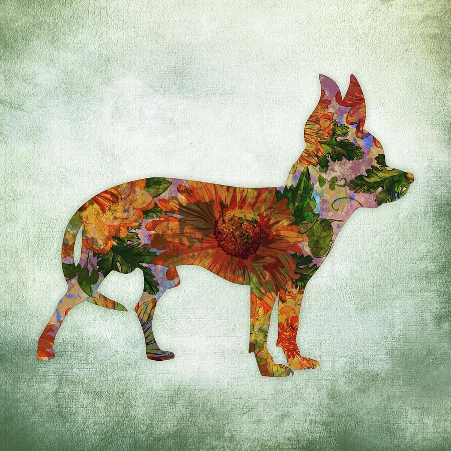 Chihuahua On Green Digital Art By Flo Karp Wolf Cihuahua