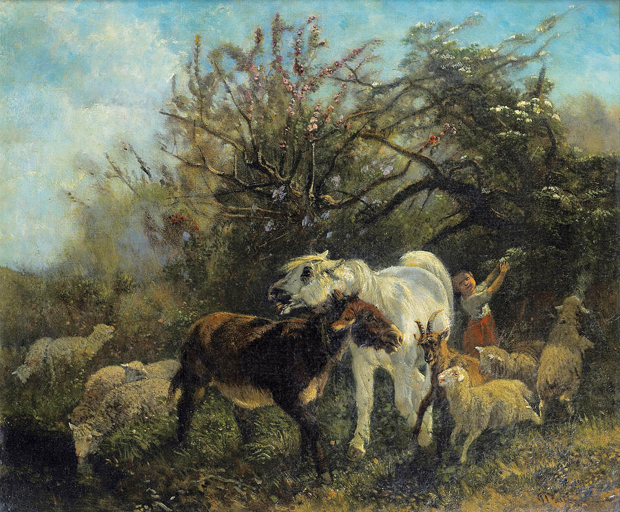 Giuseppe Palizzi Painting - Child And Sheep In The Country by Giuseppe Palizzi