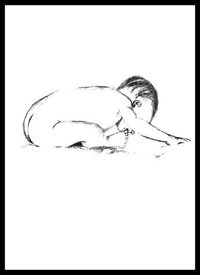 Cute Drawing - Child by Chitram Sundharam