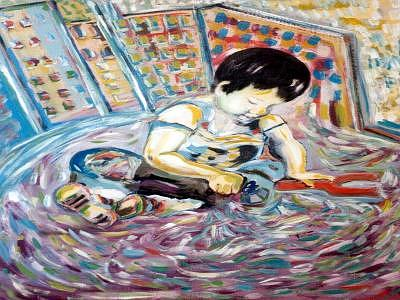 Child Painting - Child In A Fountain. by CarloS Camacho
