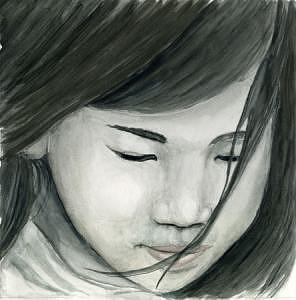Girl Painting - Child Looking Down by Elizabeth Jones