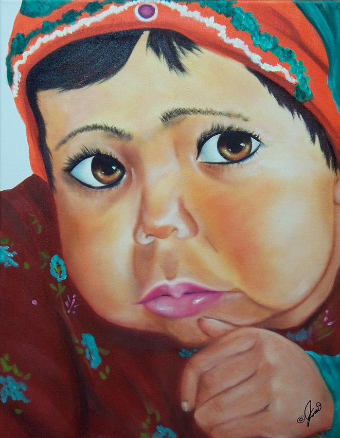Portrait Painting - Child Of Afghanistan by Joni McPherson