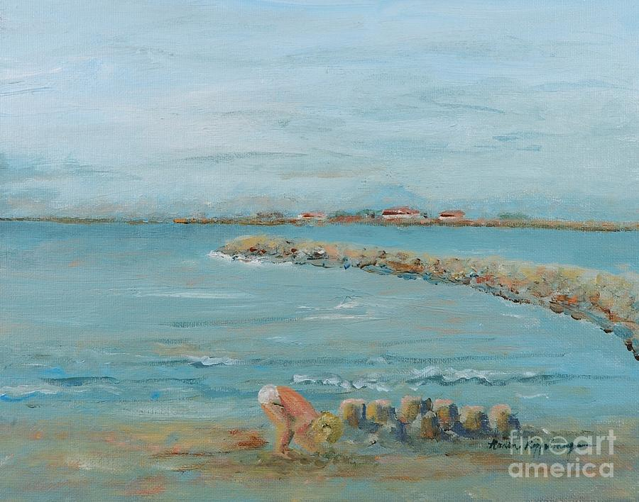 Beach Painting - Child Playing At Provence Beach by Nadine Rippelmeyer