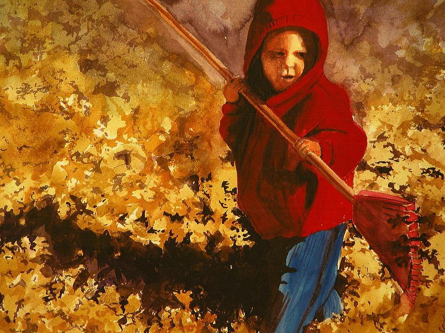 Child Raking Leaves Painting by Walt Maes