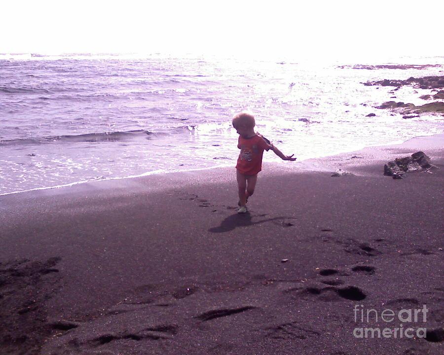 Black Sands Photograph - Child Running Black Sands by Sacred  Muse