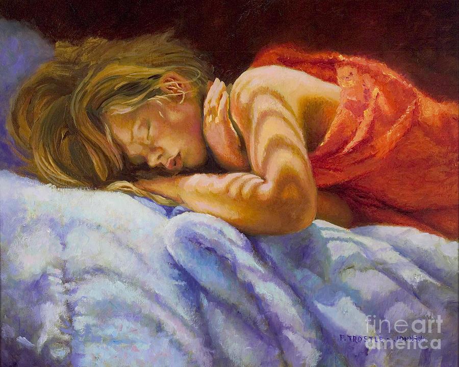 Orange Painting - Child Sleeping Print Wall Art Room Decor by Patti Trostle