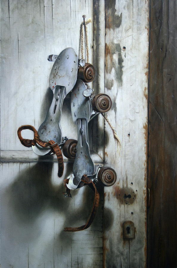 Old Door Painting - Childhood Bruises by William Albanese Sr