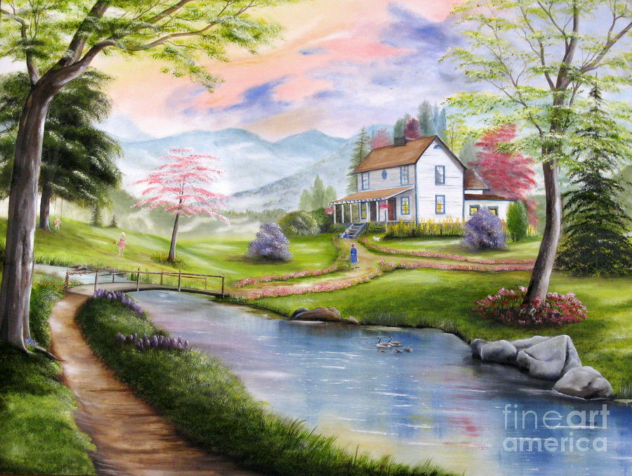 Landscape Painting - Childhood Memories by RJ McNall