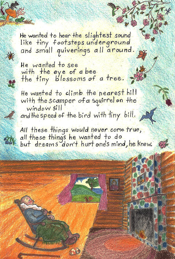 Childhood Poem And Illustration Drawing by Dawn Senior-Trask