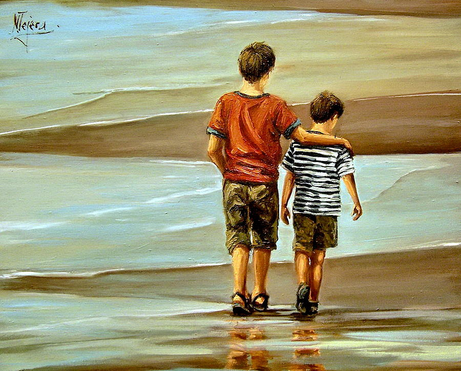 Childhood Shore Painting by Natalia Tejera