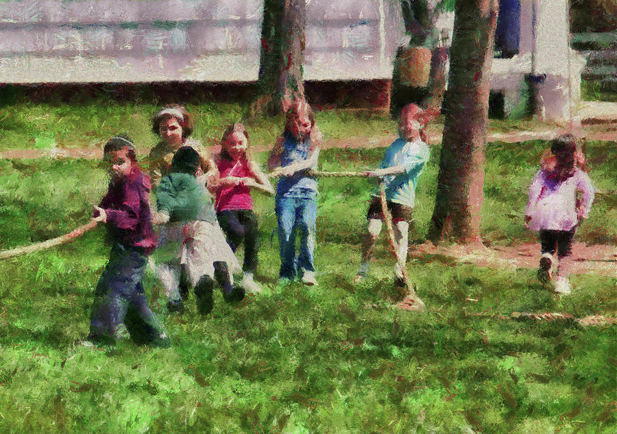 Hdr Photograph - Children - Tug Of War  by Mike Savad