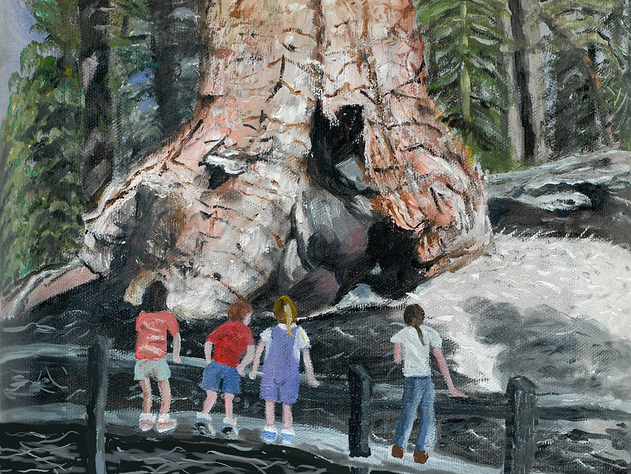 Children Painting - Children At Sequoia National Park by Quwatha Valentine