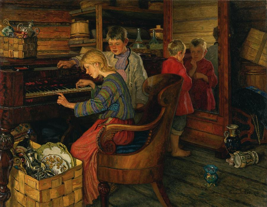 Village Painting - Children By The Piano by MotionAge Designs