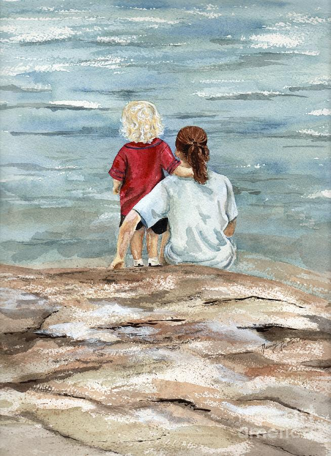 Ocean Painting - Children By The Sea  by Nancy Patterson