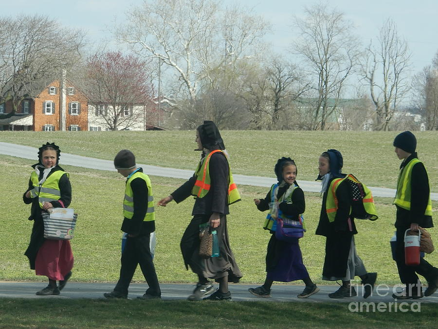 Amish Photograph - Children Crossing by Christine Clark