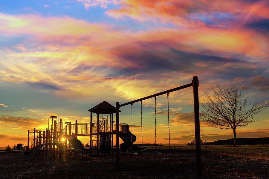 Children Photograph - Children Playground at Sunset by David Gn