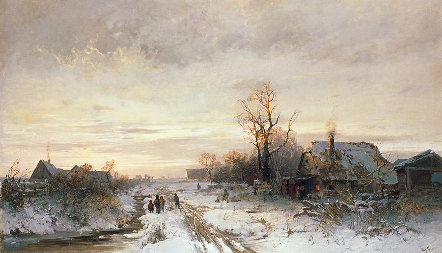 Children Painting - Children Playing In A Winter Landscape by August Fink