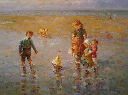 Seascape Painting - Children Playing by Jean Lefort