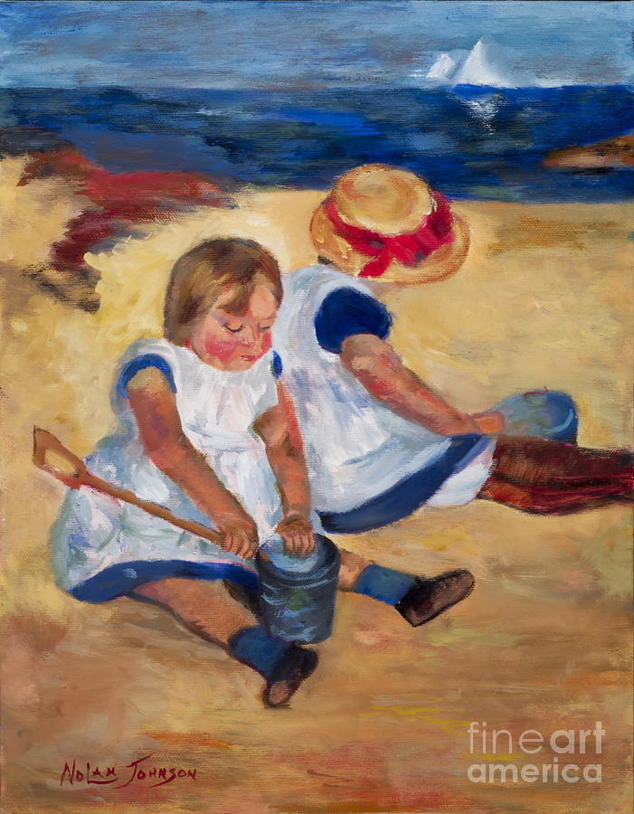 Children Playing On The Beach after Mary Cassatt by Marilyn Nolan-Johnson by Marilyn Nolan-Johnson