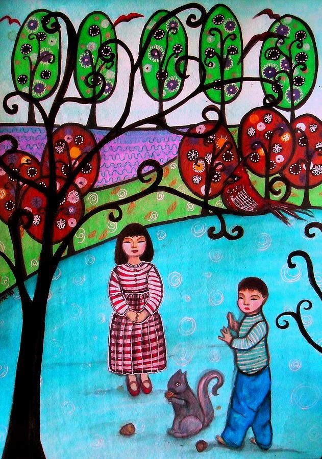 Children Painting - Children Playing by Pristine Cartera Turkus