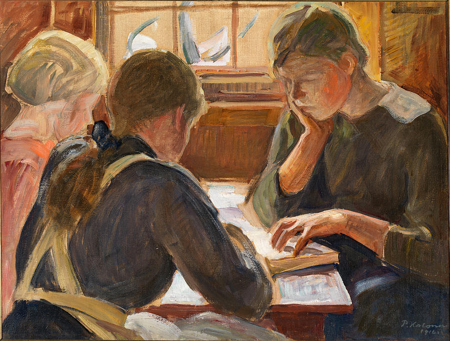 Pekka Halonen Painting - Children Reading by Pekka Halonen