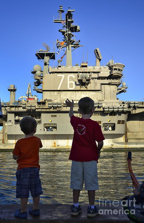 Aircraft Carrier Photograph - Children Wave As Uss Ronald Reagan by Stocktrek Images
