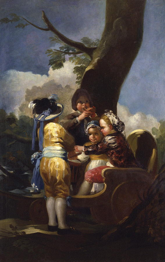 Children With A Cart Painting by Francisco Goya