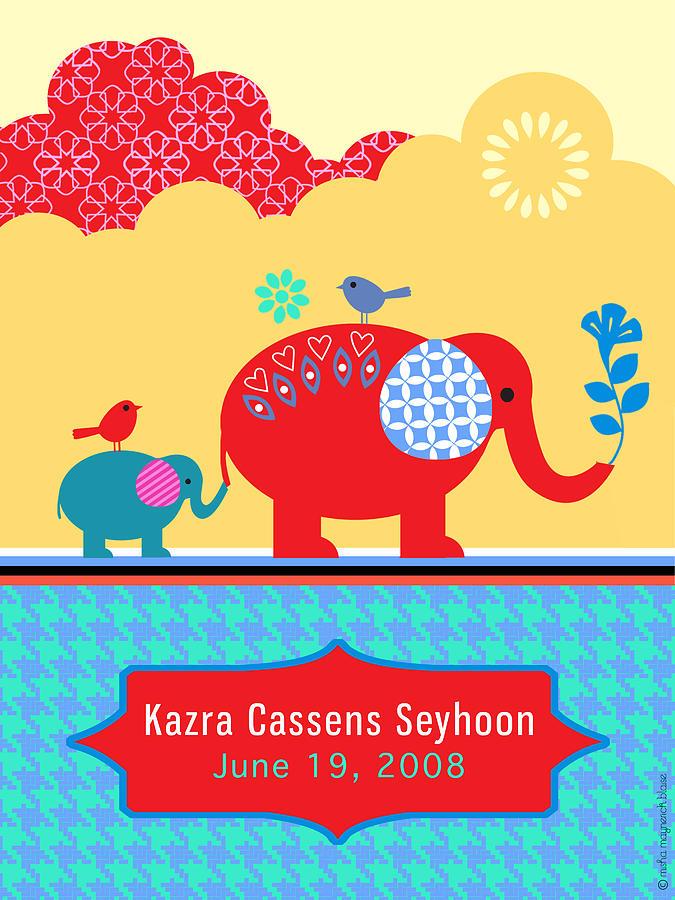 Elephants Digital Art - Childrens Elephant Poster by Misha Maynerick