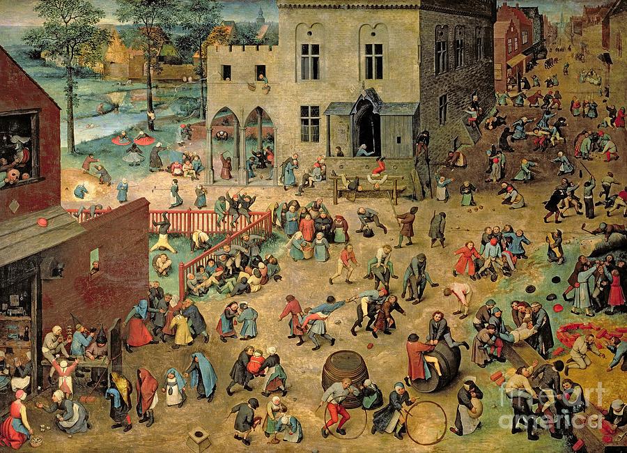 Children Painting - Childrens Games by Pieter the Elder Bruegel
