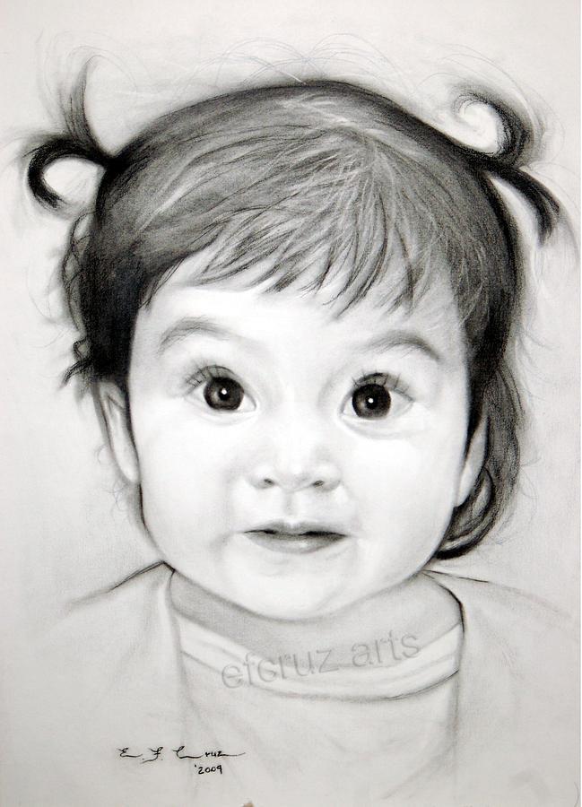 Childrens Pencil Portrait Drawing Drawing by Efcruz Arts