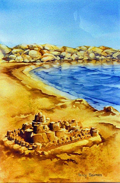 Sandcastle Painting - Childs-play by Nancy Newman