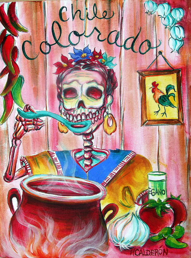 Day Of The Dead Painting - Chile Colorado by Heather Calderon