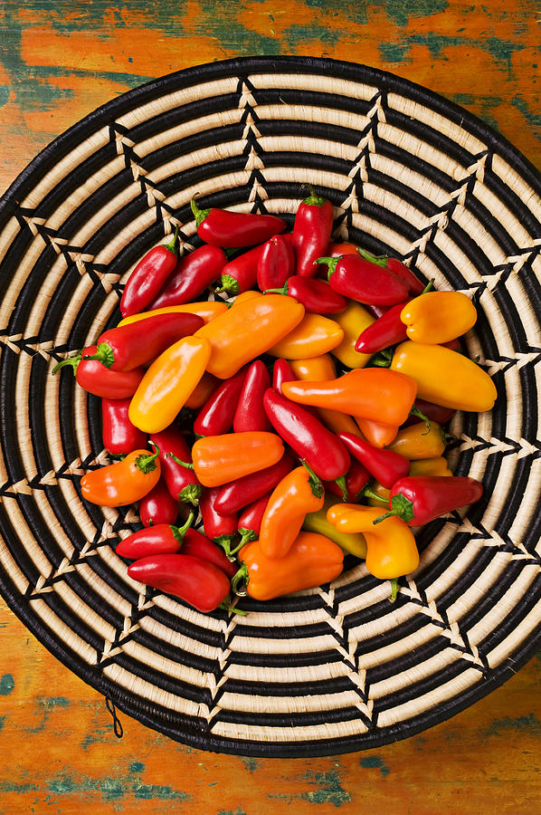 Chili Photograph - Chili Peppers In Basket  by Garry Gay