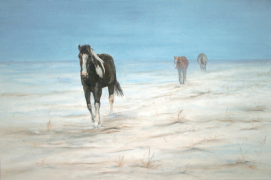 Horses Painting - Chilled To The Bone by Kathie Henry