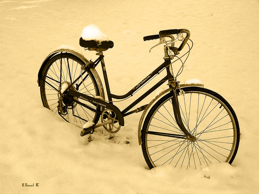 Schwin Photograph - Chilly Ride by Albert Stewart